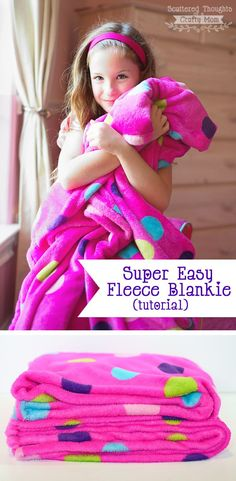 How to make a simple fleece blanket. Perfect sewing project for beginners. Makes a great gift.