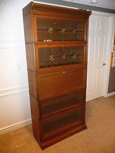 Antqe RARE 7pcs Orig Gunn Secretary Desk Bookcases 1900 Oak Leadglass Lock Key   eBay