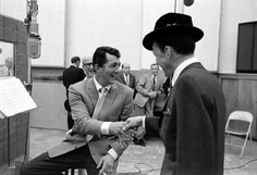<strong>Not published in LIFE.</strong> Dean Martin and Frank Sinatra crack up during the <i>Sleep Warm</i> sessions in 1958.