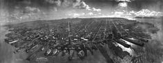 """San Francisco in Ruins"" by George Lawrence, 1906 weeks after earthquake). Inscription reads: Photograph of San Francisco in ruins from Lawrence Captive Airship, 2000 feet above San Francisco Bay overlooking water front. Sunset over Golden Gate. San Francisco Earthquake, San Fransisco, San Francisco Bay, Aerial Photography, White Photography, Inspiring Photography, Cool Photos, Amazing Photos, Amazing Places"
