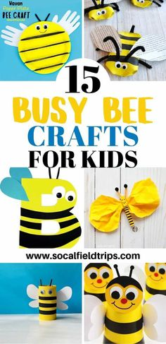 Are you planning a lesson about bees for your classroom or homeschool group? Then check out this list of 15 Busy Bee Crafts For Kids that are a delight to make and buzzy worthy to share! Click the link to the learn more. Bees For Kids, Bee Crafts For Kids, Bug Crafts, Animal Crafts For Kids, Toddler Crafts, Projects For Kids, Diy For Kids, Craft Projects, Paper Crafts