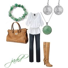 I can pull this one off with the jade jewelry I brought back to the States from China. All I need is a white shirt.