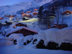 Alpine village, as night descends