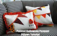 DIY Hallowen: DIY Painted Halloween Pennant Pillow