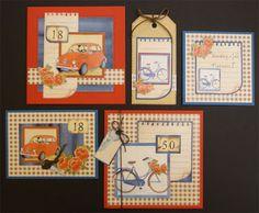 Allerlei kaarten met auto's en fietsen. Ook deze kaarten maken? Er is een voordeel-pakket verkrijgbaar.