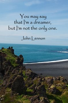 """""""You may say that I'm a dreamer, but I'm not the only one."""" – John Lennon – On Iceland image of black sand, Djupalon Beach -- Learn more about travel to pure, natural Iceland -- Learn more about driving Iceland's Ring Road through article and slideshow at http://www.examiner.com/article/iceland-s-ring-road-holds-natural-wonder-and-creative-inspiration"""