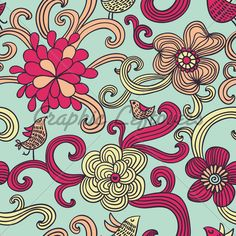 Flowers and birds Style Patterns, Vintage Patterns, Flower Patterns, Vintage Flowers, Vintage Floral, Retro Vintage, Retro Pattern, Picasso, Retro Style