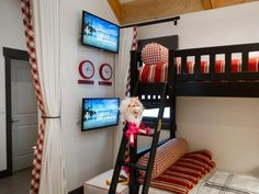 No fighting to get the best spot for TV viewing here — each bunk bed gets its own wall-mounted flat screen.  http://www.hgtv.com/dream-home/kids-bedroom-pictures-from-hgtv-dream-home-2014/pictures/page-3.html?soc=pindhm