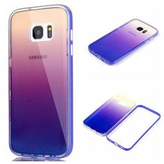 AIIYG DS(TM) Samsung Galaxy S7 Edge G9350 Gradient Color Mirror Soft TPU Case with Shockproof PC Bumper for S7 Edge (Purple)