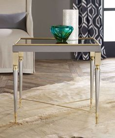 Metal Mirrored Stop Side Table  X-Stretcher Base