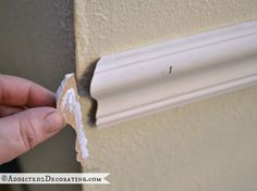 tips for installing beautiful moulding - don't end with a blunt 90 degree cut 2 Corner Moulding, Wall Molding, Diy Molding, Crown Molding, Baseboard Trim, Baseboards, Installing Wainscoting, Chair Rail Molding, Tile Trim