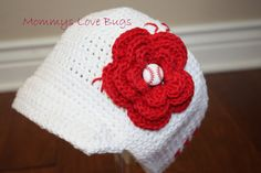Baseball Crochet Brim Hat with Removable Flower by MommysLoveBugs,   Ariana's new hat