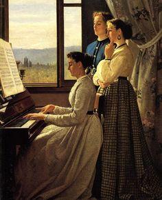 ♪ The Musical Arts ♪ music musician paintings - Silvestro Lega | Il canto dello stornello, 1867