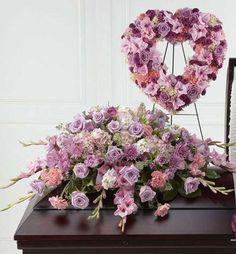 Funeral Flower Package Pink With Heart Wreath Casket Flowers, Grave Flowers, Cemetery Flowers, Funeral Flower Messages, Funeral Flowers, Funeral Floral Arrangements, Flower Arrangements, Funeral Caskets, Funeral Sprays