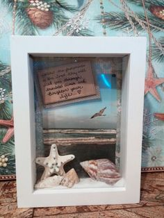 DIY: put sand, shells, pebbles, etc from Newport Beach and a picture of the beach house in a shadow box