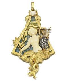 Gold, enamel, ivory and diamond pendant. Circa 1900