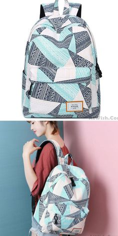 Fresh Geometric Pattern Printing Girl's Student Rucksack Waterproof Large Canvas School Backpack #bag #Backpack #school