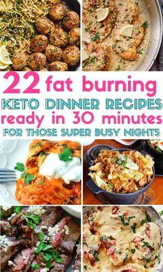 22 Keto & Low Carb Dinner Recipes That Are Ready In 30 Minutes or Less! These Keto & Low Carb Dinner Recipes That Are Ready In 30 Minutes or Less! These easy keto dinner recipes contain chicken, beef, shrimp, and pork. Keto Crockpot Recipes, Diet Recipes, Cooking Recipes, Party Recipes, Diabetic Slow Cooker Recipes, Keto Shrimp Recipes, Chicken Recipes, Recipies, Low Carb Slow Cooker