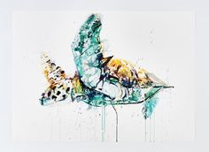 """A bespoke Limited Edition luxury box set 'Aquatic' by Dave White. Edition of 20 with 5 Artist Proofs Luxury Cloth Bound Box with Gold Foil Four Editions - All Hand Finished with 24 Carat gold leaf All prints are 30"""" x 22"""" (76cm x 56cm) Giclee on Arches Aquarelle 340gm..."""