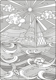 Keep calm and ride the waves coloring page #keepcalm #waves #boat #adultcoloring #coloringpage