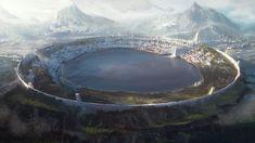 Nuadan Chronicles - Eolann City by Leon Tukker Fantasy Kunst, Fantasy City, Fantasy Castle, Fantasy Places, Fantasy Map, High Fantasy, Medieval Fantasy, Fantasy World, Fantasy Artwork