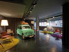 Every hotel needs a vintage automobile. Chic & Basic Ramblas hotel by lagranja, Barcelona hotels and restaurants