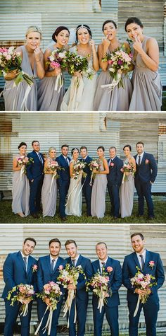 Soft purple grey bridesmaid dresses and blue groomsmen suits | Curly Tree Photography