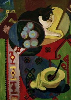 Ernst Ludwig Kirchner (1880-1938, German), Still Life with Cat.