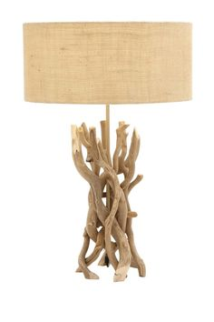 Add a touch of nature to your space with the DecMode 67711 Table Lamp. This lamp base combines upright pieces of driftwood that stand out. A beige shade coordinates with the natural hues of this table lamp. Driftwood Chandelier, Driftwood Table, Driftwood Ideas, Coastal Chandelier, Driftwood Crafts, Cube Table, A Table, Teak, Chandeliers