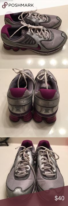 Nike Shox women's sneakers, purple/silver size 11 Nike Shox women's sneakers, purple/silver size 11.  Worn once, look brand new Nike Shoes Athletic Shoes