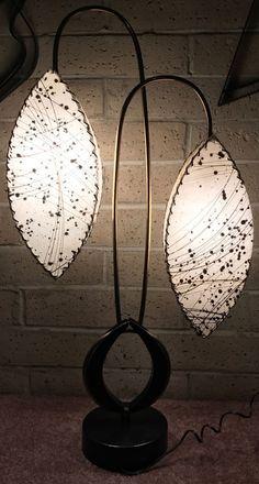 Rare Vtg 50s Majestic Lamp Fiberglass Shades Retro Mid Century Modern Atomic Era