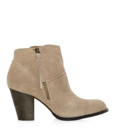 Cream Suedette Side Zip Ankle Boots