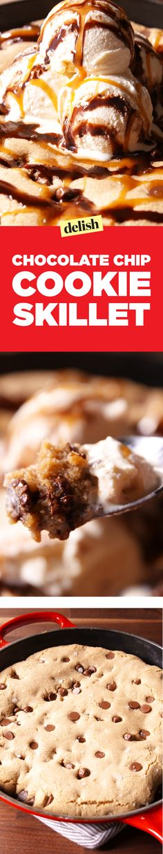 This chocolate chip cookie skillet is 10x easier to make than a batch of cookies. Get the recipe on Delish.com.