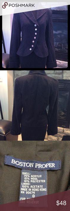 BOSTON PROPER COAT BEAUTIFUL TAILORED BOSTEN PROPER GREY WOOL BLEND COAT. LINED AND GORGEOUSLY CUT. LOOKS NEW. SIZE 8 Boston Proper Jackets & Coats Blazers