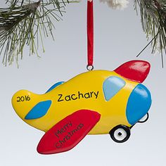 Make your home more festive this Christmas with the Up Up And Away!<sup>©</sup> Personalized Airplane Ornament. Find the best personalized Christmas gifts at PersonalizationMall.com