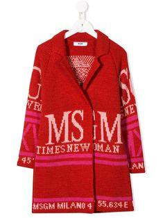 Msgm Kids' Oversized Logo Cardigan In 红色 Stella Mccartney Kids, Karl Lagerfeld, Balmain, Dolce Gabbana Kids, Fendi, Calvin Klein, Msgm Kids, Ralph Lauren, Kids Fashion