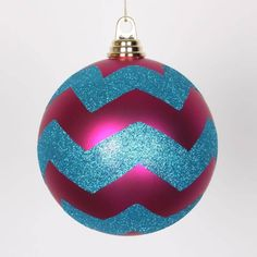 Vickerman Cerise Pink Matte w/ Turquoise Blue Glitter Chevron Commercial Size Christmas Ball Ornament 6(150mm)