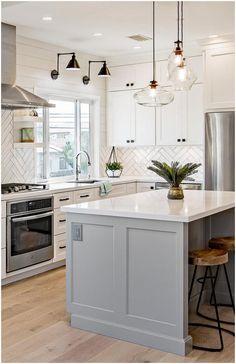Kitchen Room Design, Modern Kitchen Design, Kitchen Redo, Home Decor Kitchen, Interior Design Kitchen, Kitchen Ideas, Island Kitchen, White Kitchen Designs, White Kitchen Interior
