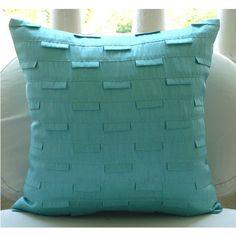 Lujo Turquesa Fundas De Cojines, Alforzas Con Textura Decorativo De La Cubierta Cojines Cuadrado 45x45 cm Seda - Blue Ocean