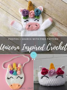 Magical creatures always brighten up kids' rooms. Fans of unicorns will surely be really excited to have such cute accessories in their kingdom. Crochet Girls, Crochet For Kids, Crochet Baby, Free Crochet, Crochet Unicorn Pattern Free, Free Pattern, Amigurumi Patterns, Crochet Patterns, Sweet Bags