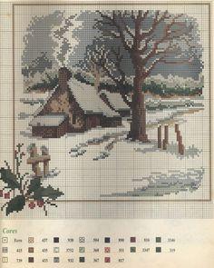 cabin in woods Cross Stitch House, Xmas Cross Stitch, Cross Stitching, Cross Stitch Embroidery, Funny Cross Stitch Patterns, Cross Stitch Charts, Cross Stitch Designs, Cross Stitch Landscape, Christmas Cross