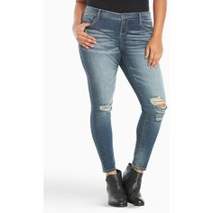 Torrid Premium Stretch Ultra Skinny Jeans - Dark Wash with Destruction... ($79) ❤ liked on Polyvore featuring jeans, plus size ripped jeans, distressed skinny jeans, stretch skinny jeans, super skinny jeans and white ripped skinny jeans