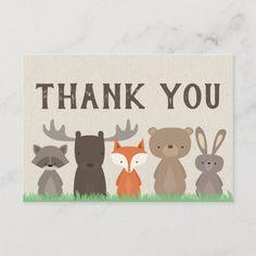 Woodland Animal Baby Shower Thank You Cards Flat Thank You Greeting Cards, Baby Shower Thank You Cards, Thank You Postcards, Custom Thank You Cards, Bow Baby Shower, Baby Shower Themes, Baby Showers, Shower Ideas, Woodland Baby