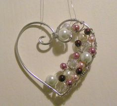 Wire and bead hanging heart