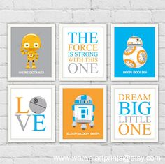 Star Wars Robots Art Prints. R2-D2 C-3PO BB-8. by waiwaiartprints