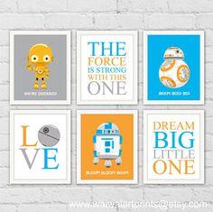 Star Wars Robots Art Prints. R2-D2 C-3PO BB-8. by waiwaiartprints