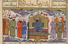 From the Asian and African blog post 'The Shahnameh as Propaganda for World War II'. Image: Zahhak enthroned, with serpents rising from his shoulders. From a provincial Timurid Shahnameh from Mazandaran dated 850/1446 (Or.12688, f22r)