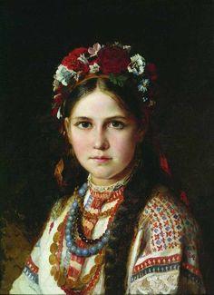 Ukrainian girl by Nikolay Rachkov (2nd half 19 c., Chernigov museum) - Ukrainian wreath - Wikipedia, the free encyclopedia