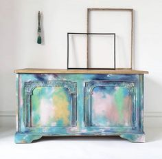 My Favorite Furniture Makeovers! | The Turquoise Iris Furniture Makeover, Diy Furniture, Abstract Watercolor Art, Blanket Box, Vintage Blanket, Jewelry Armoire, Diy Painting, Light In The Dark, Painted Furniture