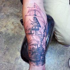 Viking Ship Tattoo For Men On Forearm